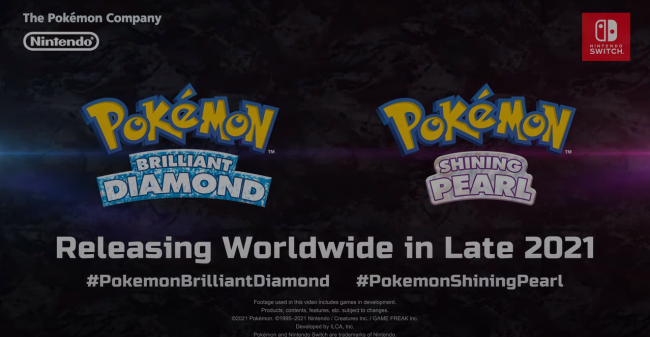 Pokémon Brilliant Diamond/Shining Pearl anunciado para 2021