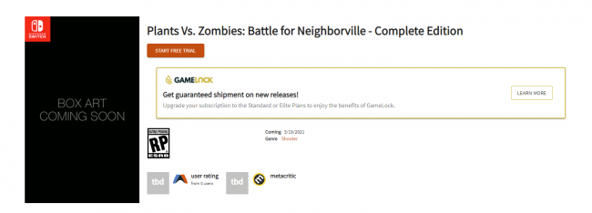 Plants Vs. Zombies: Battle for Neighborville poderá estar a caminho da Nintendo Switch