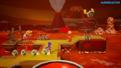 Yoshi's Crafted World - Jogabilidade Poochy's Magma Run